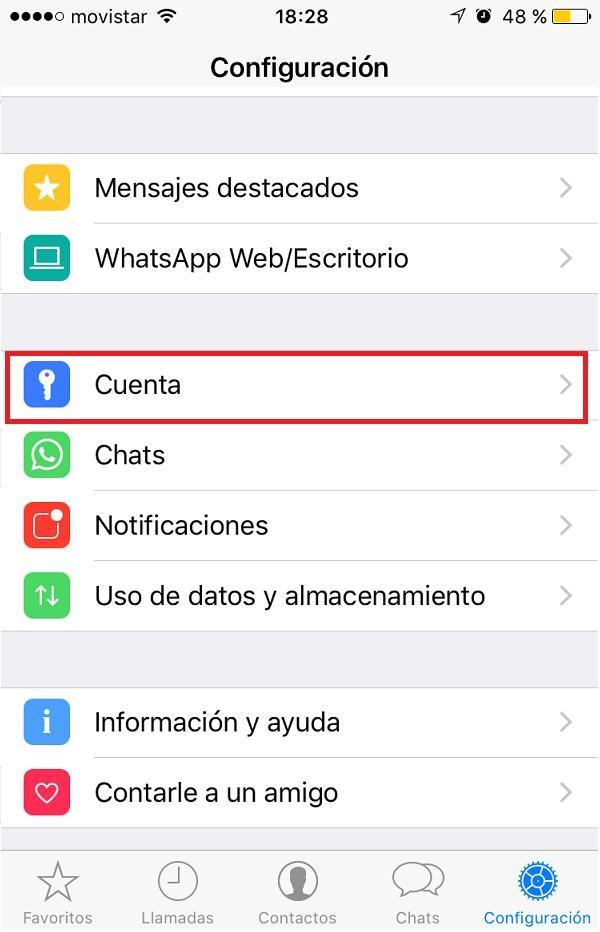 configurar cuenta WhatsApp